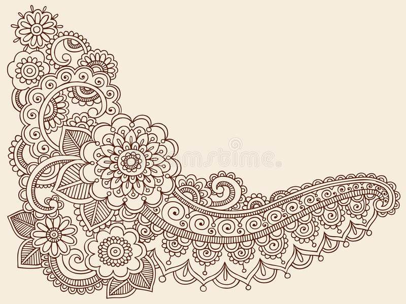 Éléments de conception de vecteur de griffonnage de Mehndi de henné illustration stock