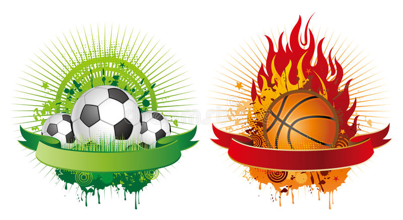 éléments de conception du football et de basket-ball illustration de vecteur