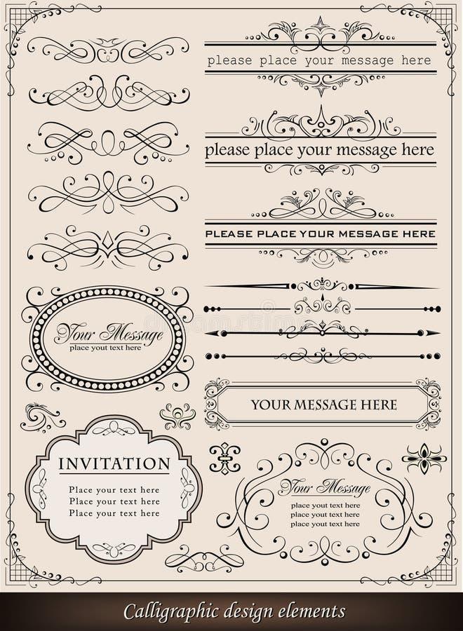 Éléments De Conception Et Décoration Calligraphiques De Page Image stock
