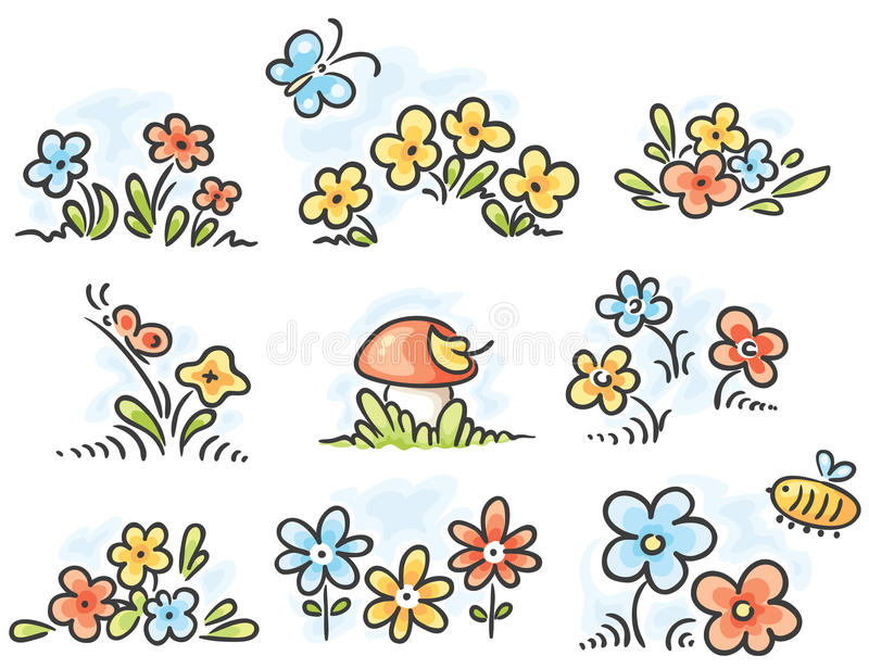 Éléments de conception florale de bande dessinée illustration stock