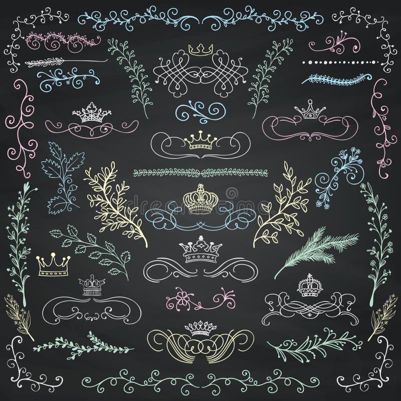 Éléments de conception florale de dessin de craie de vecteur, couronnes illustration libre de droits