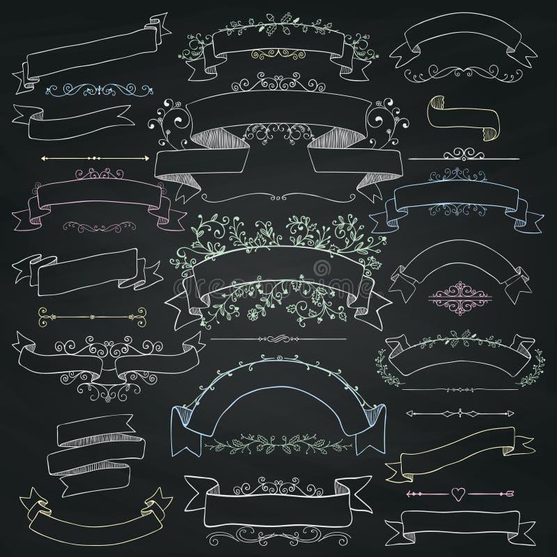 Éléments de conception florale de dessin de craie, rubans, bannières illustration de vecteur