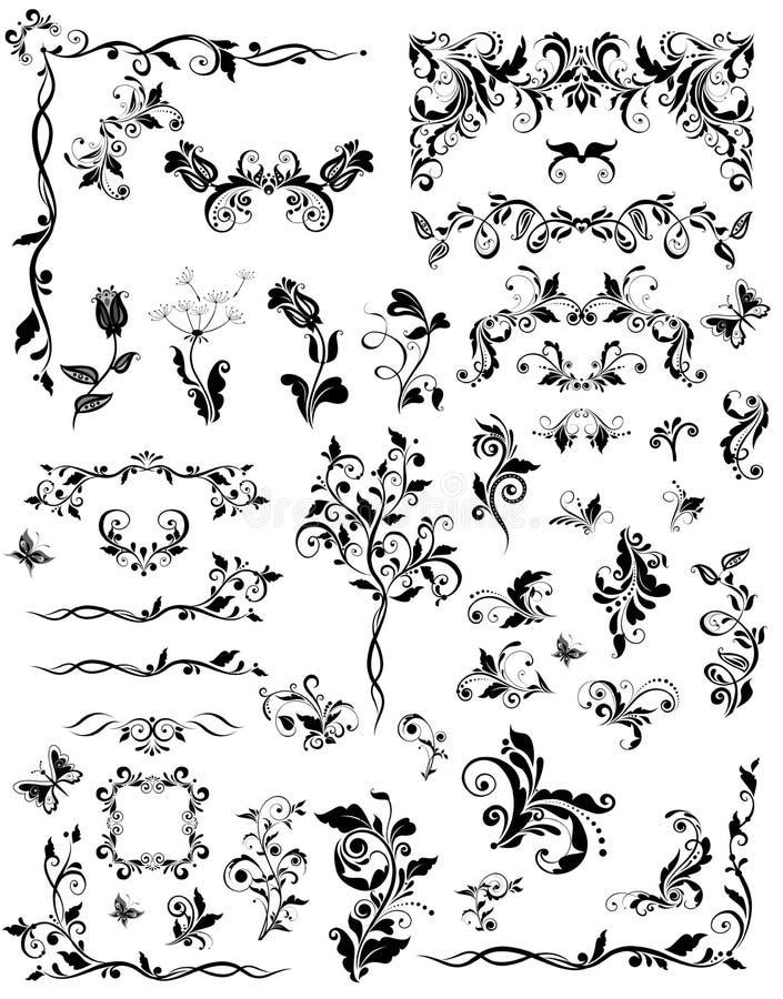 Éléments de conception florale de vintage illustration stock