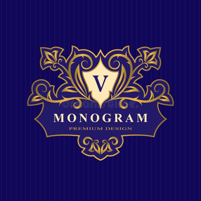 Éléments de conception de monogramme d'or, calibre gracieux Élégant calligraphique logo de schéma Marquez avec des lettres l'iden illustration libre de droits