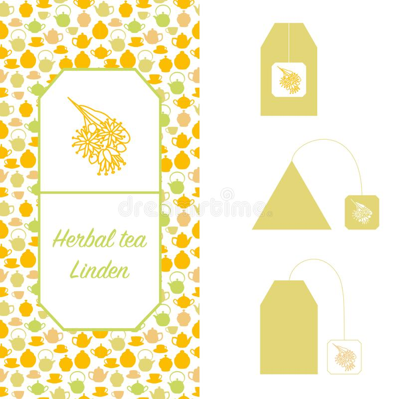 Éléments de conception pour l'emballage de thé Linden Herbal Tea illustration stock