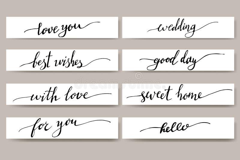 Éléments de conception pour la carte postale Expressions pour des cartes de voeux Ensemble de lettrage inspiré écrit par main illustration stock