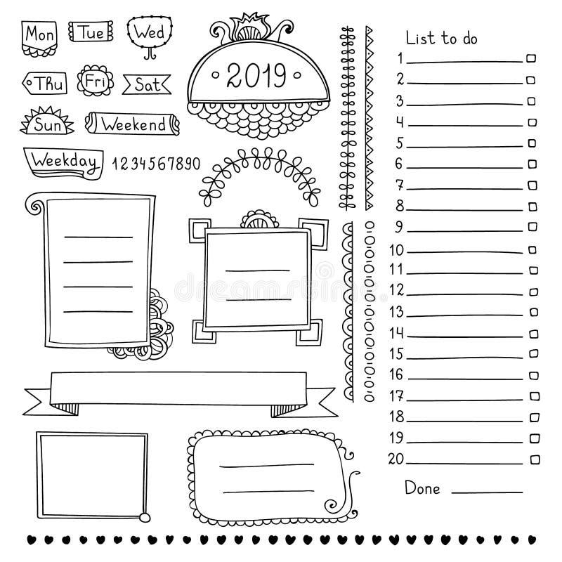 Éléments de conception pour le journal ou le planificateur de balle illustration de vecteur