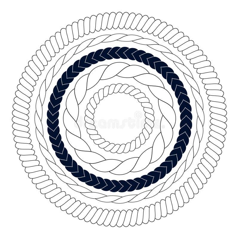 Éléments de corde ronde, cadres, frontières illustration libre de droits