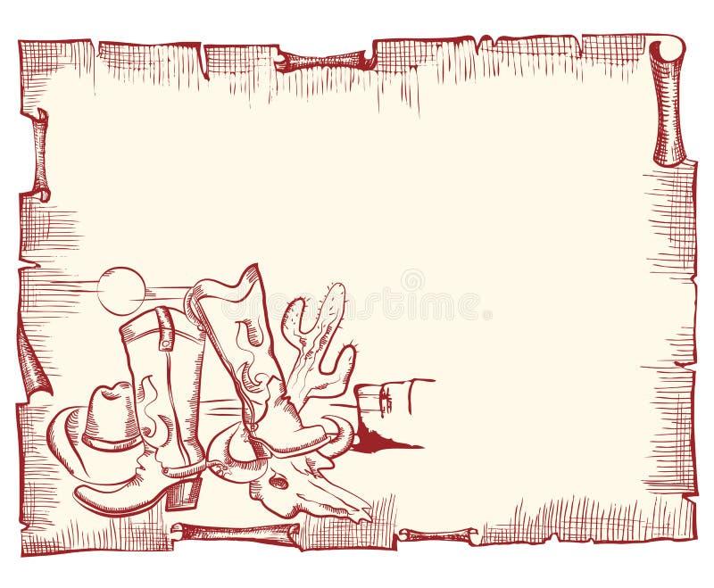 Éléments de cowboy. fond occidental sauvage illustration stock