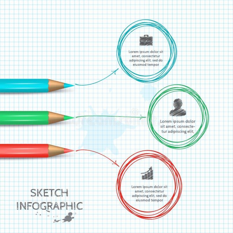 Éléments de croquis de griffonnage de vecteur pour infographic illustration stock