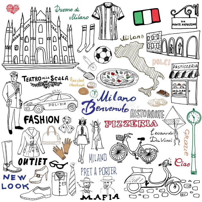 Éléments de croquis de Milan Italy Ensemble tiré par la main avec la cathédrale de Duomo, drapeau, carte, chaussure, articles de  illustration de vecteur
