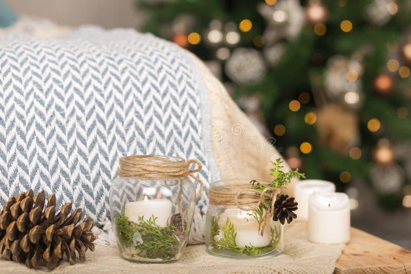 Éléments de décoration intérieure de Noël de vintage images libres de droits