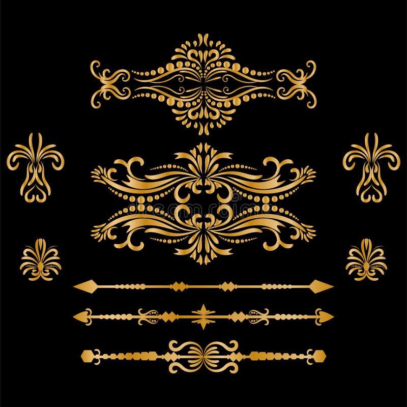 Éléments de décorations de vintage d'or de couleur Ornements et cadres calligraphiques de Flourishes rétro collection de concepti illustration de vecteur