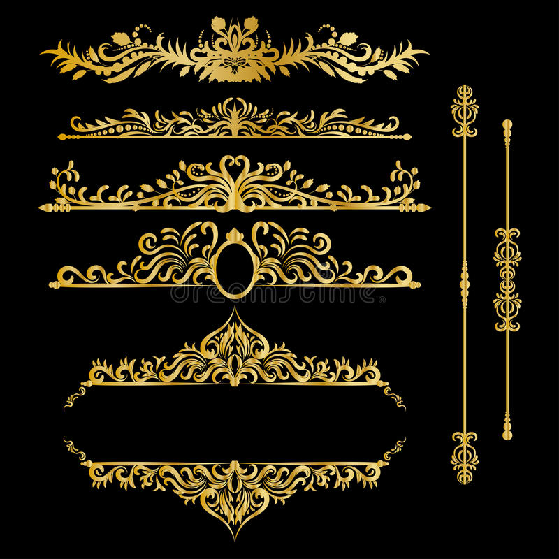 Éléments de décorations de vintage d'or de couleur Ornements et cadres calligraphiques de Flourishes Rétro conception de type illustration de vecteur