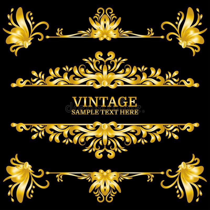 Éléments de décorations de vintage d'or de couleur Ornements et cadres calligraphiques de Flourishes Rétro type illustration de vecteur