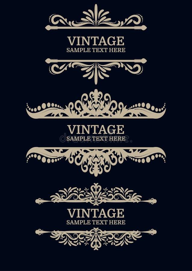Éléments de décorations de vintage de vecteur Illustration de vecteur illustration libre de droits