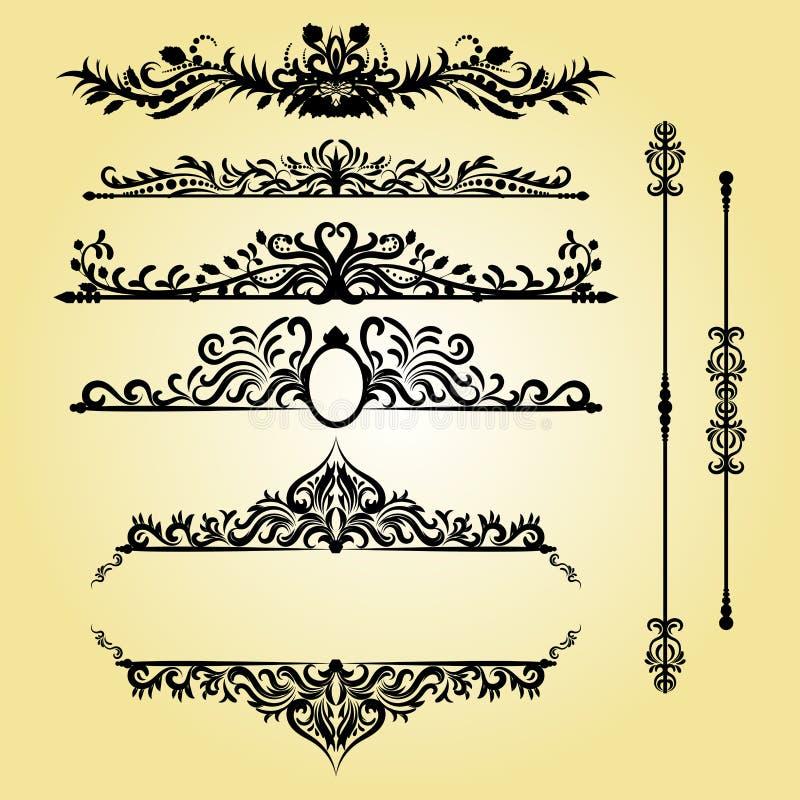 Éléments de décorations de vintage Ornements et cadres calligraphiques de Flourishes Rétro conception de type illustration libre de droits
