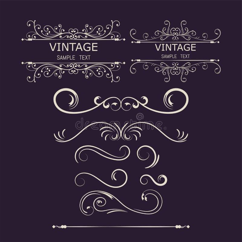 Éléments de décorations de vintage Ornements et cadres calligraphiques de Flourishes Illustration de vecteur illustration libre de droits