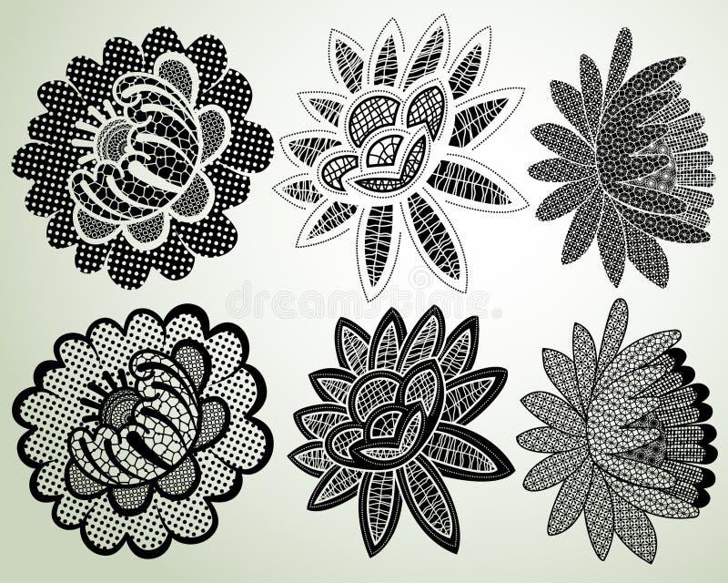 Éléments de dentelle de fleur illustration de vecteur