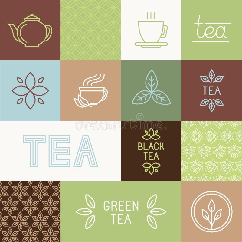 Éléments de design d'emballage de thé de vecteur illustration libre de droits