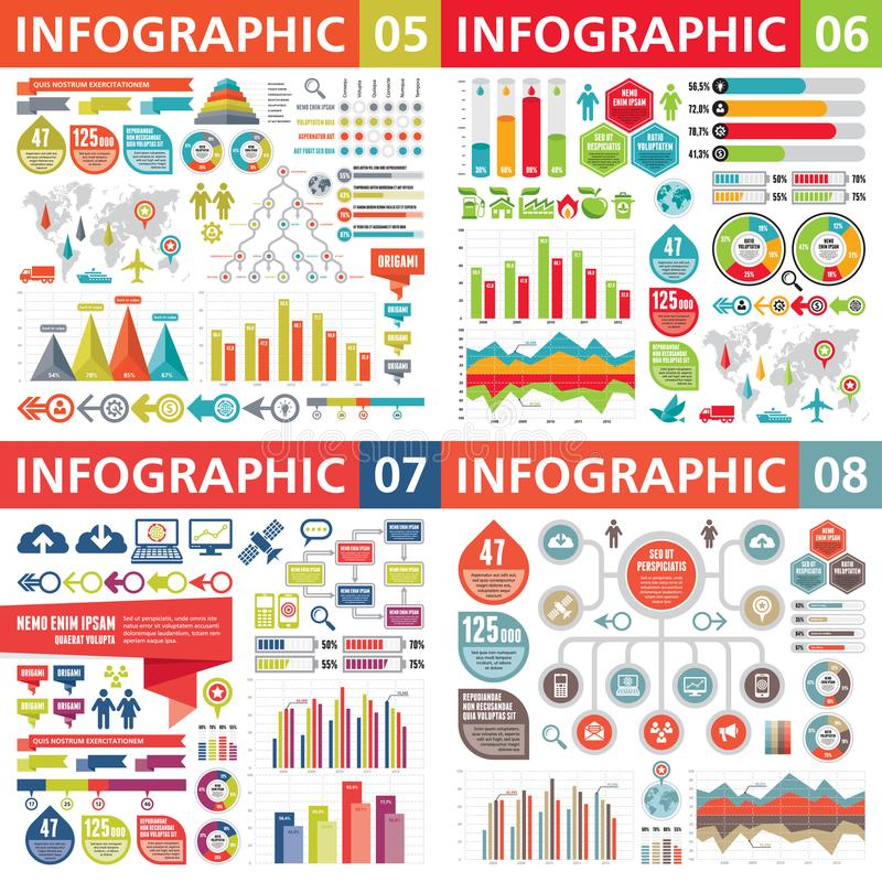 Éléments de design d'entreprise d'Infographic - illustration de vecteur Collection de calibre d'Infograph Ensemble créatif de gra illustration stock