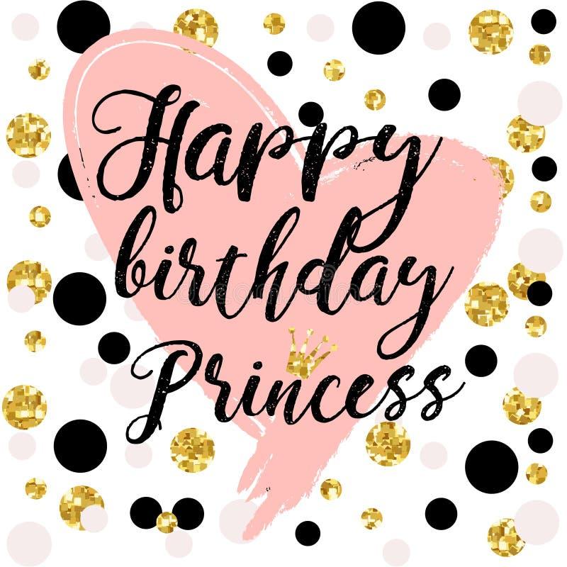 Éléments de design de carte d'anniversaire pour la petites princesse, fille de charme et femme Illustration de vecteur illustration de vecteur
