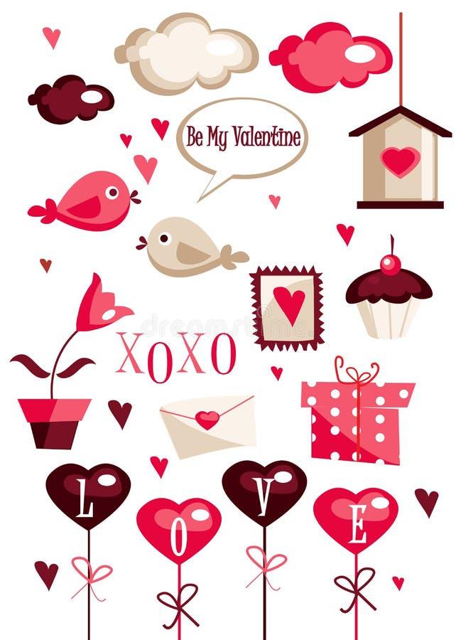 Éléments de dessin de jour de Valentines illustration de vecteur