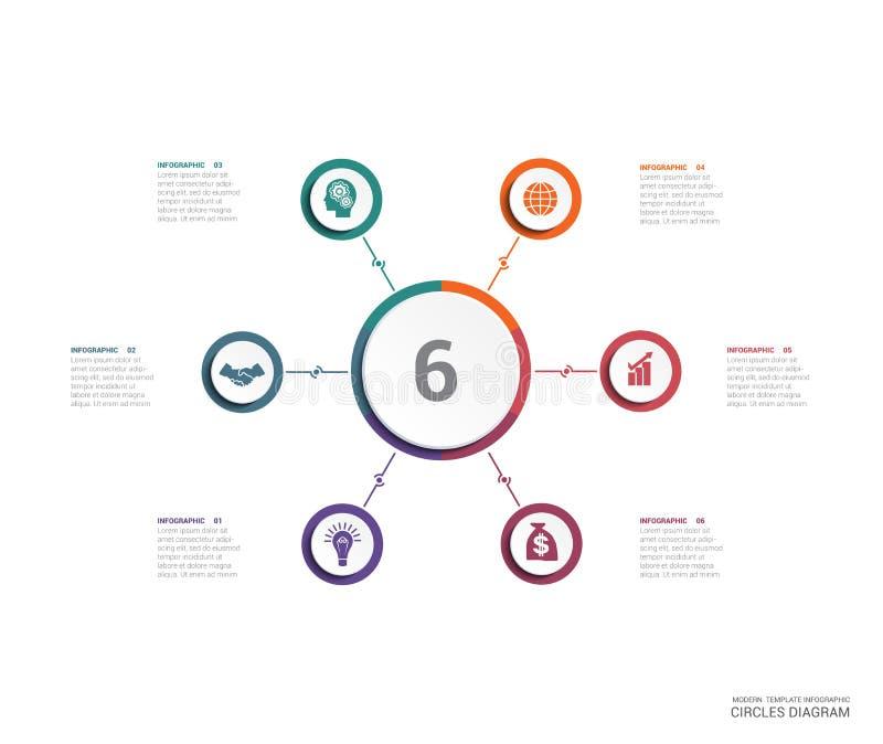 Éléments de diagramme de diagramme de secteur pour la position de l'infographics 6 de calibre illustration de vecteur