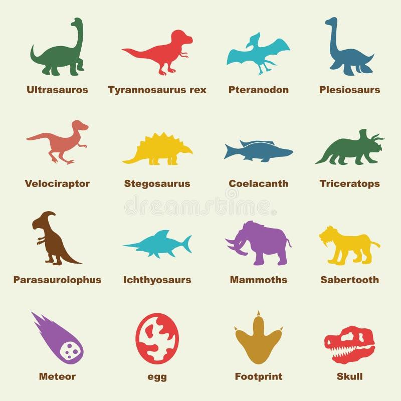Éléments de dinosaure illustration stock