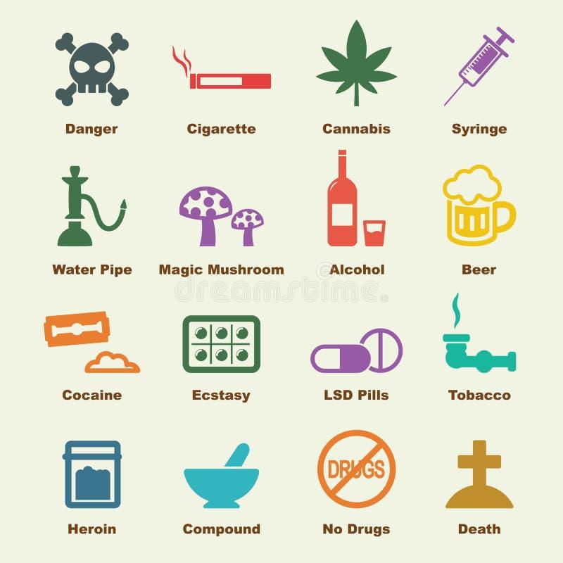 Éléments de drogue illustration stock
