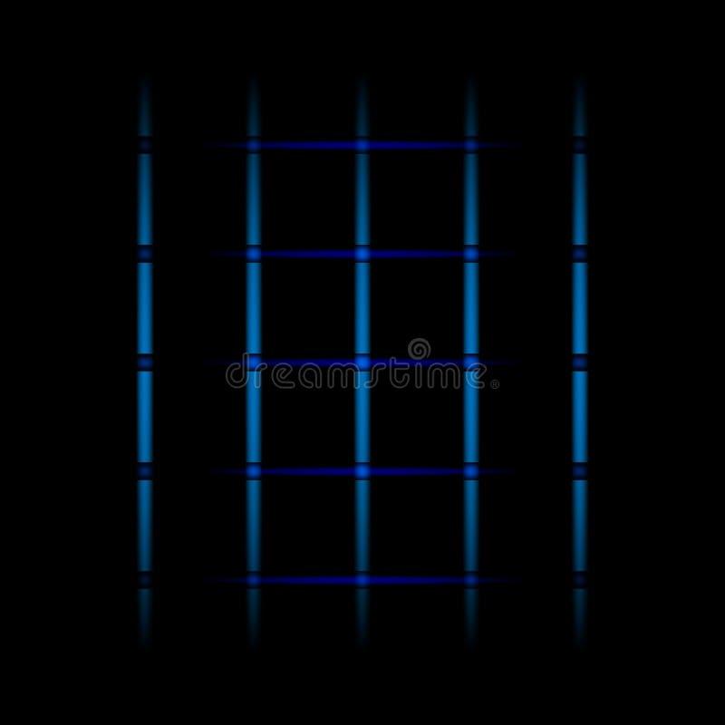 éléments de effacement bleus de la lampe au néon 3d, lignes, points, grille sur le fond noir Mod?le abstrait futuriste illustration stock