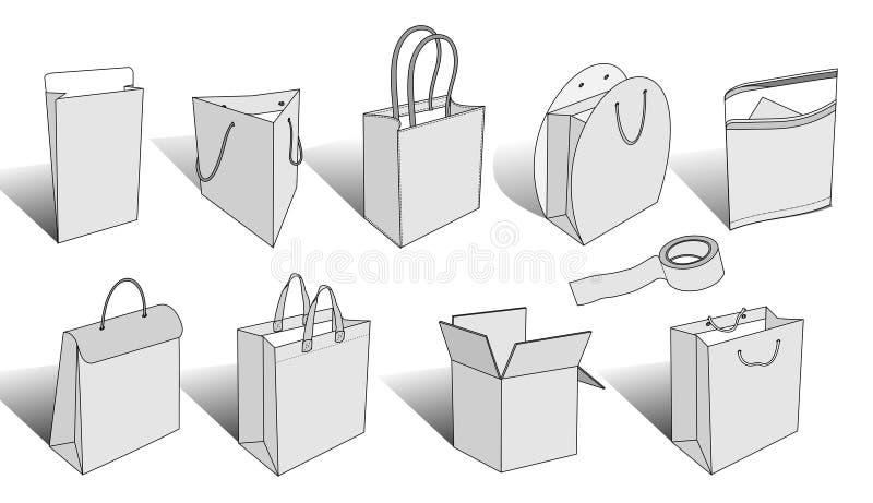 Éléments de empaquetage 3d illustration de vecteur