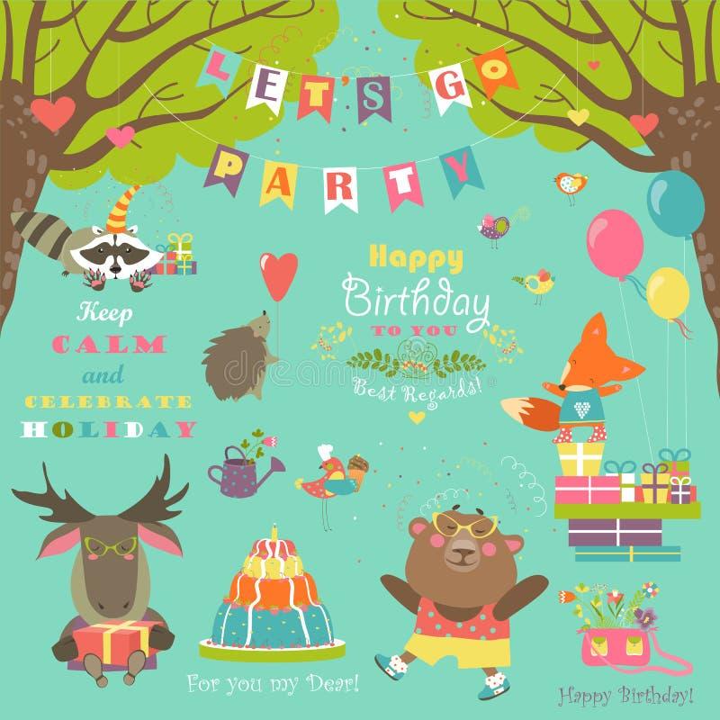 Éléments de fête d'anniversaire avec les animaux mignons illustration stock
