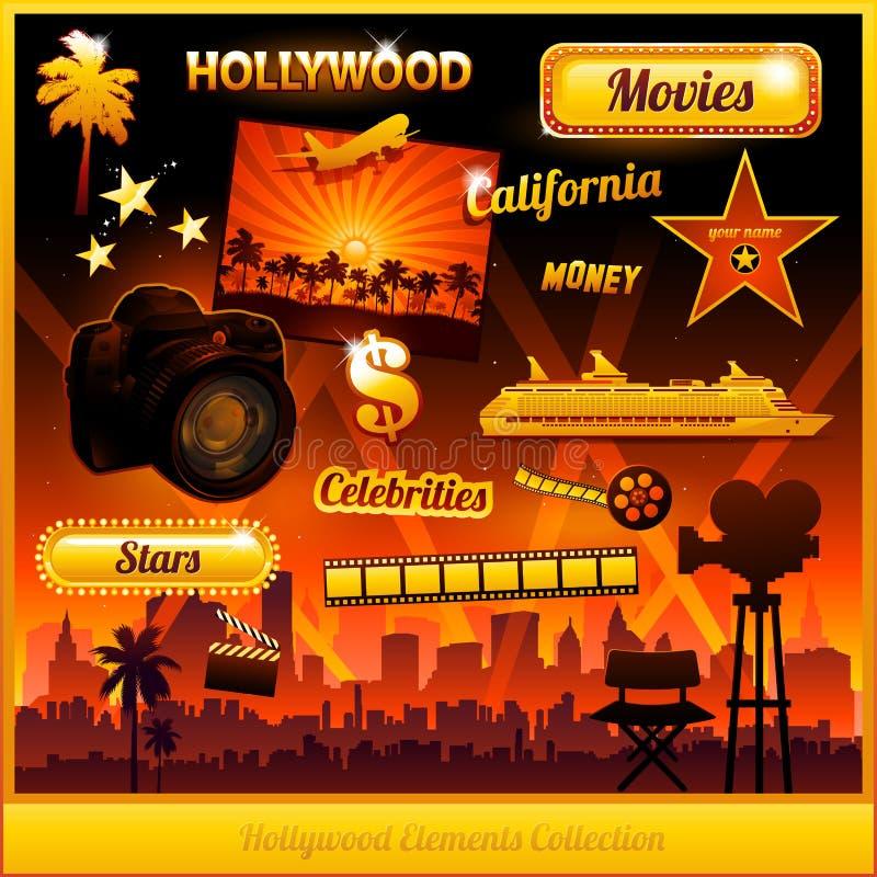 Éléments de film de cinéma de Hollywood illustration libre de droits