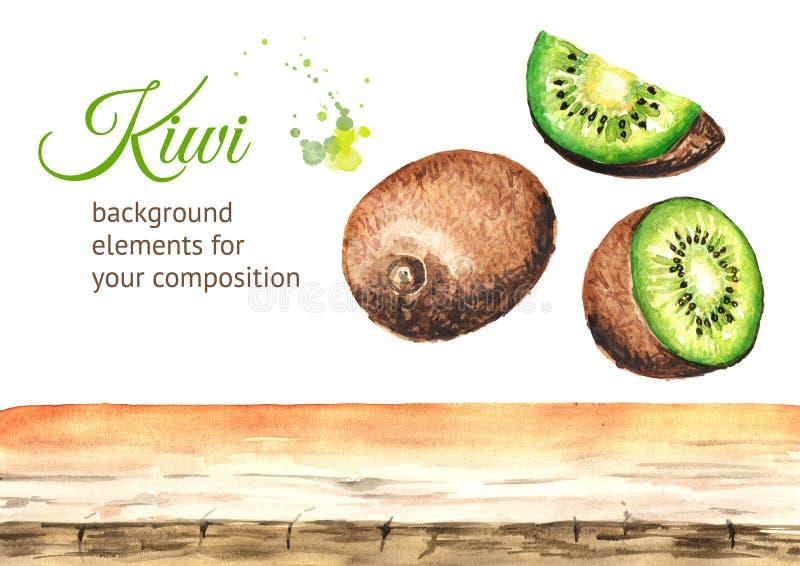 Éléments de fond de kiwi Illustration tirée par la main d'aquarelle d'isolement sur le fond blanc illustration libre de droits