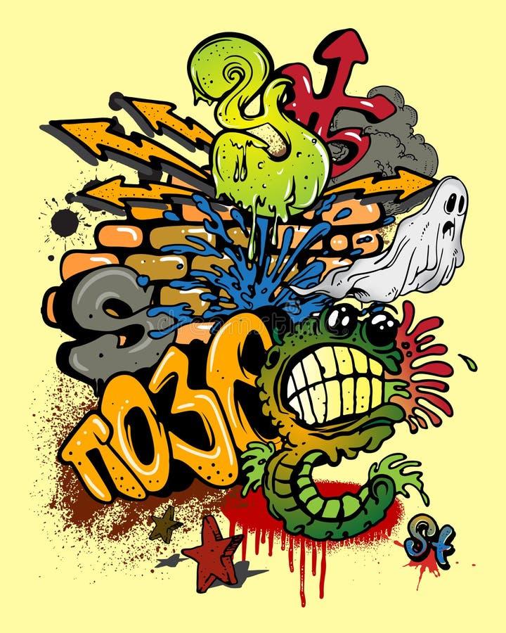 Éléments de graffiti illustration de vecteur
