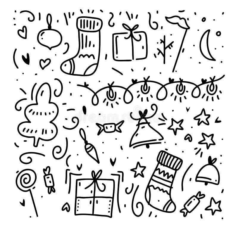 Éléments de griffonnage de vecteur de bonne année et de Joyeux Noël illustration stock