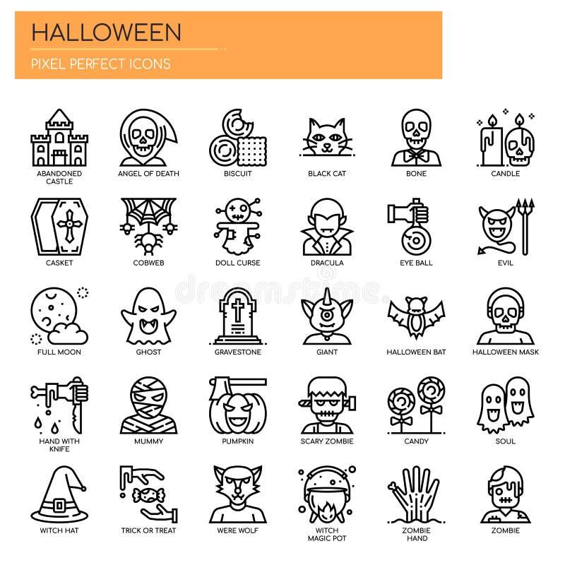 Éléments de Halloween, icônes parfaites de pixel illustration stock