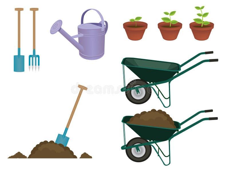 éléments de jardinage illustration de vecteur