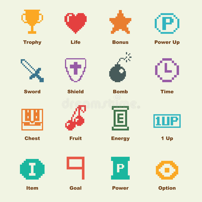 8 éléments de jeu de bit illustration libre de droits