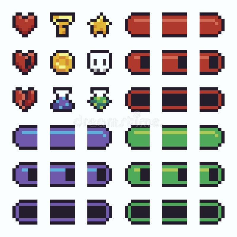 Éléments de l'art UI de pixel illustration de vecteur