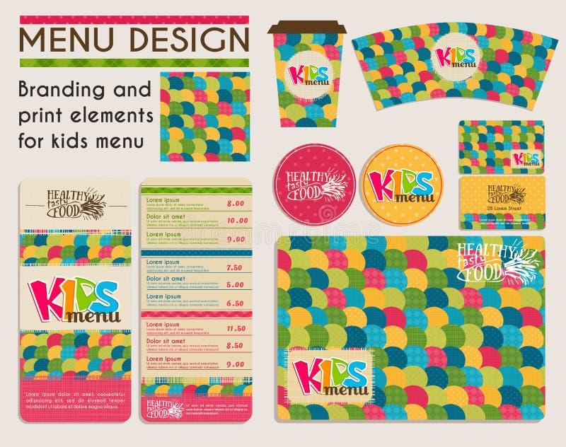 Éléments de marquage à chaud et d'impression pour le menu d'enfants photo libre de droits