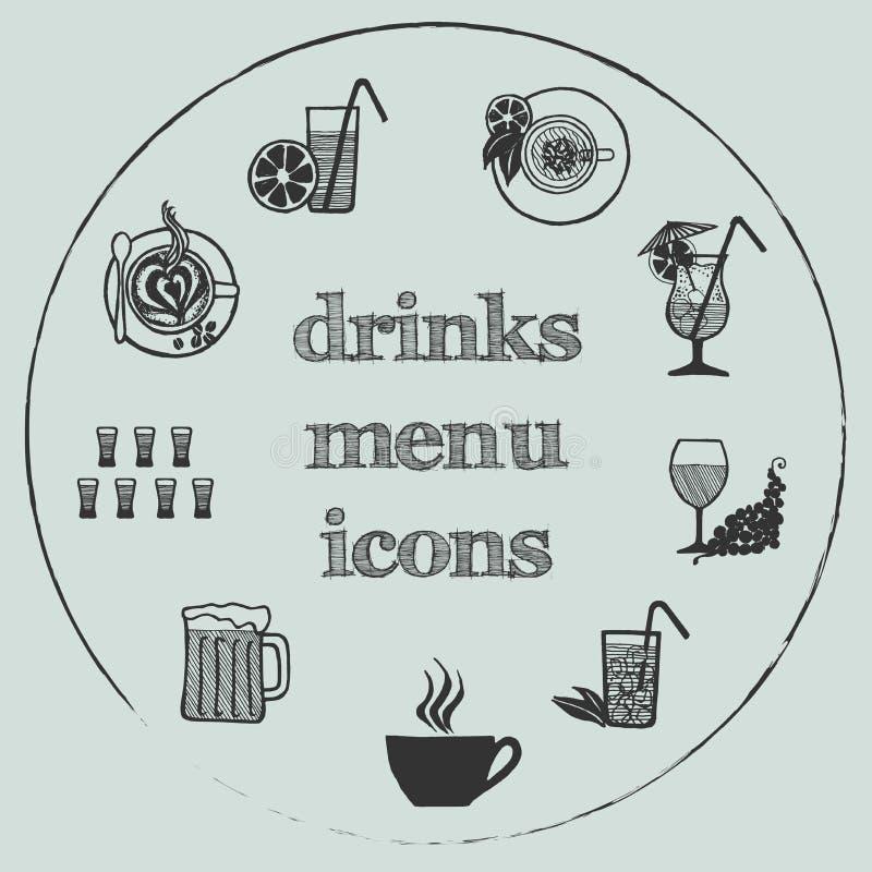 Éléments de menu de boissons - les icônes ont placé 3 illustration libre de droits