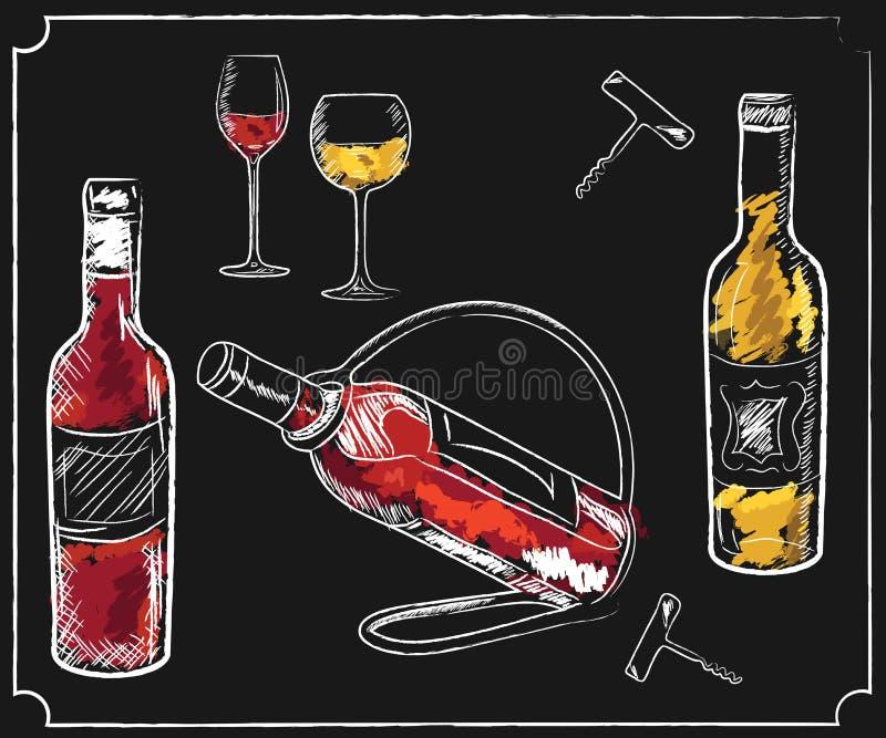 Éléments de menu de boissons sur le tableau illustration stock