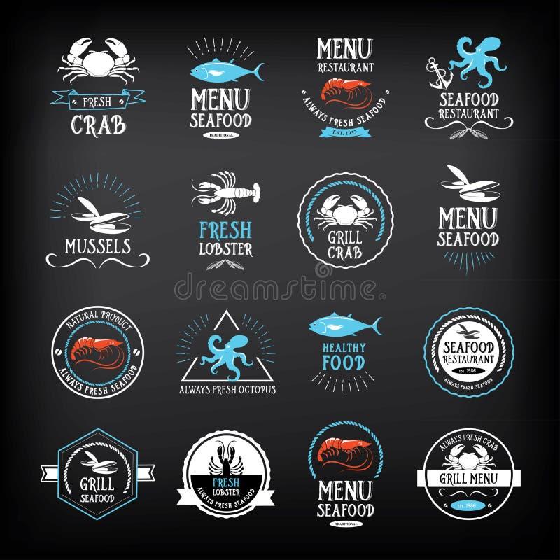 Éléments de menu de fruits de mer et de conception d'insignes Vecteur avec le graphique illustration de vecteur