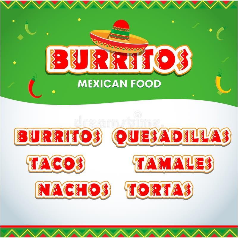 Éléments de menu pour le restaurant mexicain Insecte mexicain de nourriture, calibre de brochure Burritos, nachos de tacos, quesa illustration stock
