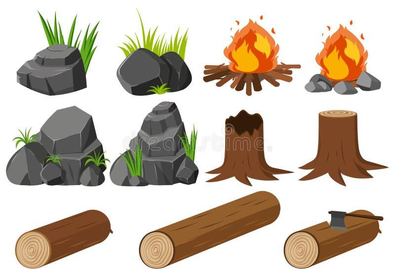 Éléments de nature avec des roches et des bois illustration de vecteur