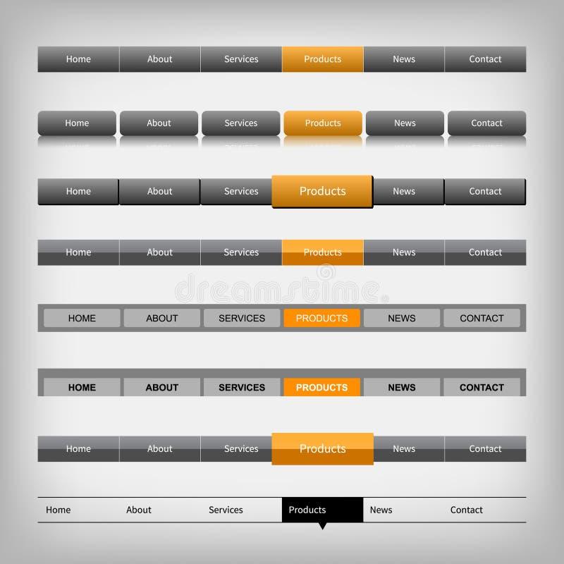 Éléments de navigation de Web illustration de vecteur