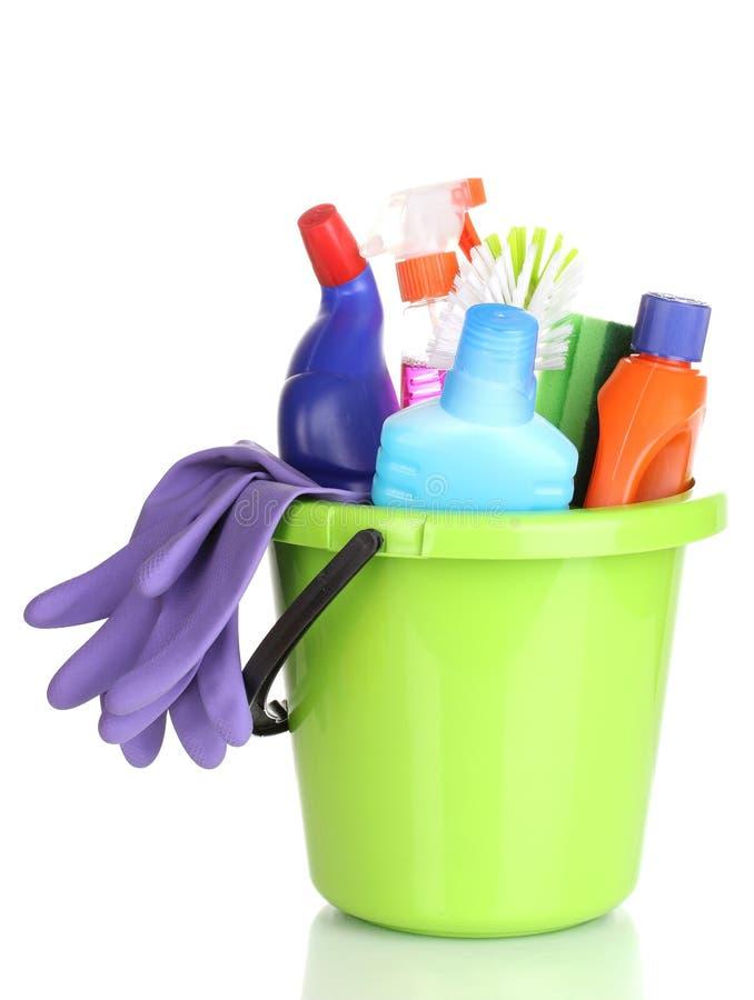 Éléments de nettoyage dans la position images stock
