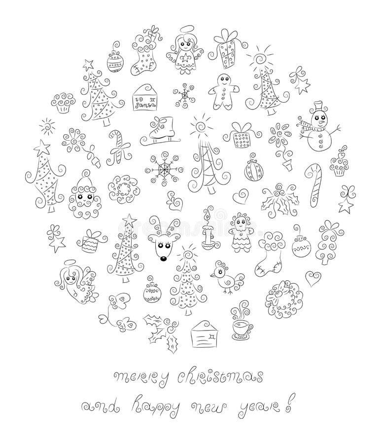 Éléments de Noël de griffonnage illustration stock